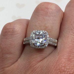 Jewelry - 14k white gold engagement halo ring wedding 2 ct